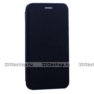 Синий кожаный чехол книга для iPhone 11