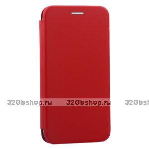 Красный кожаный чехол книга для iPhone 11