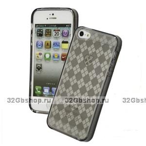 Силиконовая прозрачная накладка Diamond Pattern Case для iPhone 5 / 5s / SE темная