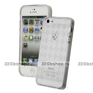 Силиконовая прозрачная накладка Diamond Pattern Case для iPhone 5 / 5s / SE светлая