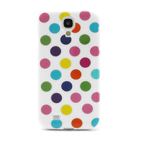 Силиконовый чехол для Samsung Galaxy S4 белый с разноцветными точками - Polka Dots White&Colorful