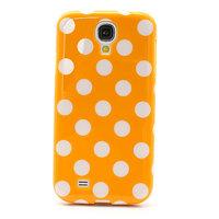 Силиконовый чехол для Samsung Galaxy S4 оранжевый с белыми точками - Polka Dots Orange&White