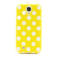 Силиконовый чехол для Samsung Galaxy S4 желтый с белыми точками - Polka Dots Yellow&White