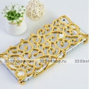 Накладка с узором Chrome Flower gold для iPhone 5 / 5s / SE золотая
