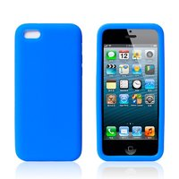 Cиликоновый чехол накладка для iPhone 5c голубой