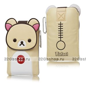 Чехол футляр карман Rilakkuma Leather Case Beige для iPhone 5 / 5s / SE бежевый медвежонок
