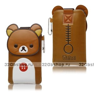 Чехол футляр карман Rilakkuma Leather Case Brown для iPhone 5 / 5s / SE коричневый медвежонок