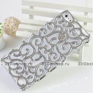 Накладка с узором Chrome Flower silver для iPhone 5 / 5s / SE серебро