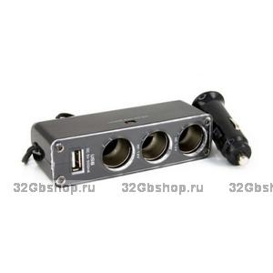 Разветвитель прикуривателя с 3 выходами + USB 12V (WF-0096)