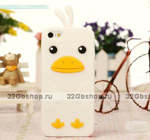 Силиконовый чехол накладка Funny Duck для iPhone 5 / 5s / SE белый утенок