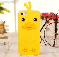 Силиконовый чехол накладка Funny Duck для iPhone 5 / 5s / SE желтый утенок