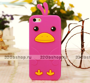 Силиконовый чехол накладка Funny Duck для iPhone 5 / 5s / SE розовый утенок