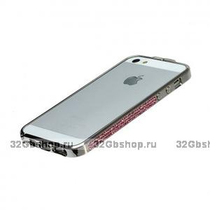 Бампер металлический со стразами Newsh для iPhone 5 / 5s / SE розовый