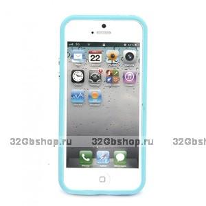 Бампер для iPhone 5 / 5s / SE голубой с прозрачной вставкой