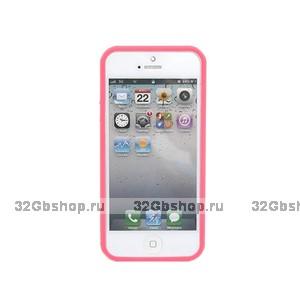 Бампер для iPhone 5 / 5s / SE розовый с прозрачной вставкой