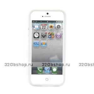 Бампер для iPhone 5 / 5s / SE белый с прозрачной вставкой