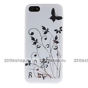 Чехол накладка для iPhone 5 / 5s / SE блестящие бабочки - белая