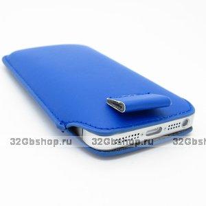 Чехол карман c язычком Pull Tab Pouch Blue для iPhone 5 / 5s / SE синий