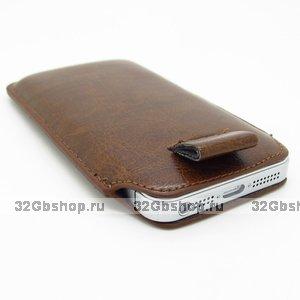 Чехол карман c язычком Pull Tab Pouch Brown для iPhone 5 / 5s / SE коричневый