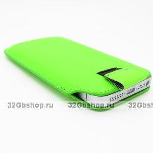 Чехол карман c язычком Pull Tab Pouch Green для iPhone 5 / 5s / SE зеленый