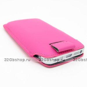 Чехол карман c язычком Pull Tab Pouch Pink для iPhone 5 / 5s / SE розовый