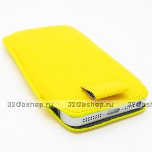 Чехол карман c язычком Pull Tab Pouch Yellow для iPhone 5 / 5s / SE желтый