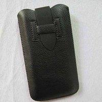 Чехол карман для iPhone 5 / 5s / SE черный c черным язычком