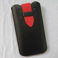 Чехол карман для iPhone 5 / 5s / SE черный c красным язычком