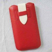 Чехол карман для iPhone 5 / 5s / SE красный с белым язычком