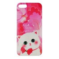 Чехол накладка Cute Cat Case для iPhone 5 / 5s / SE котик с бантиком