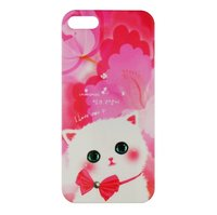 Чехол накладка Cute Cat Case для iPhone 5 / 5s / SE котик с бантиком