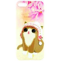 Чехол накладка Cute Cat Case для iPhone 5 / 5s / SE котик в шапочке