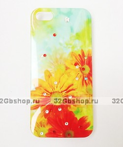 Чехол накладка для iPhone 5 / 5s / SE гербера со стразами