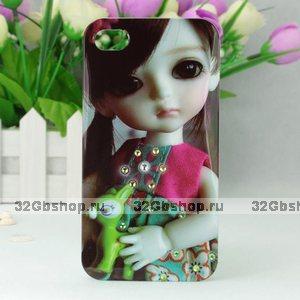 Чехол накладка со стразами Korean Girl Doll Crystal Case для iPhone 5 / 5s / SE девочка с игрушкой