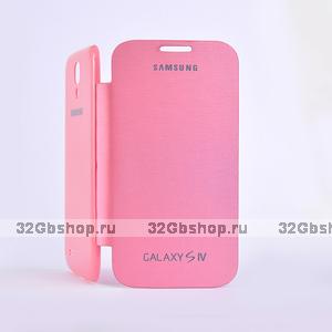 Чехол обложка Flip Cover Pink для Samsung Galaxy S4 розовый