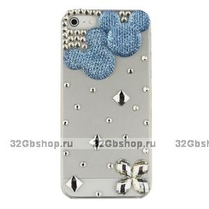 Чехол со стразами Mickey Diamond Blue для iPhone 5 / 5s / SE - мишка со стразами