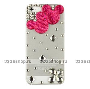 Чехол со стразами Mickey Diamond Pink для iPhone 5 / 5s / SE - мишка со стразами