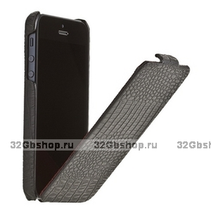 Кожаный чехол Borofone для iPhone 5s / SE / 5 - Borofone Crocodile flip Leather case black