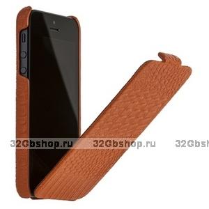 Кожаный чехол Borofone для iPhone 5s / SE / 5 - Borofone Crocodile flip Leather case orange