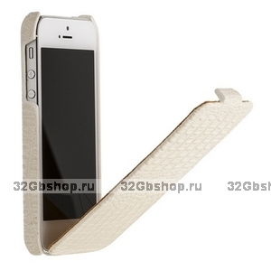 Кожаный чехол Borofone для iPhone 5s / SE / 5 - Borofone Crocodile flip Leather case white
