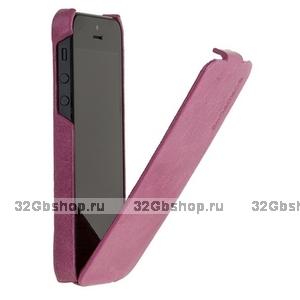 Кожаный чехол Borofone для iPhone 5s / SE / 5 - Borofone General flip Leather case rose