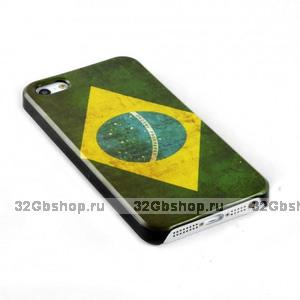 Задняя накладка для iPhone 5 / 5s / SE флаг Бразилии ретро