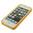 Силиконовый чехол для iPhone 5 / 5s / SE оранжевый в белый горошек
