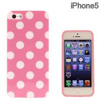 Силиконовый чехол для iPhone 5 / 5s / SE розовый в белый горошек