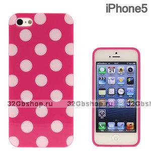 Силиконовый чехол для iPhone 5 / 5s / SE малиновый в белый горошек