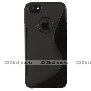 Силиконовый чехол-накладка для iPhone 5 / 5s / SE жесткий черный