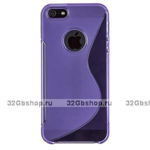 Силиконовый чехол-накладка для iPhone 5 / 5s / SE жесткий фиолетовый