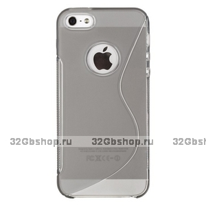 Силиконовый чехол-накладка для iPhone 5 / 5s / SE жесткий серый