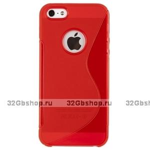 Силиконовый чехол-накладка для iPhone 5 / 5s / SE жесткий красный