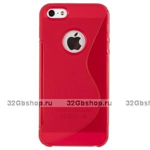 Силиконовый чехол-накладка для iPhone 5 / 5s / SE жесткий розовый
